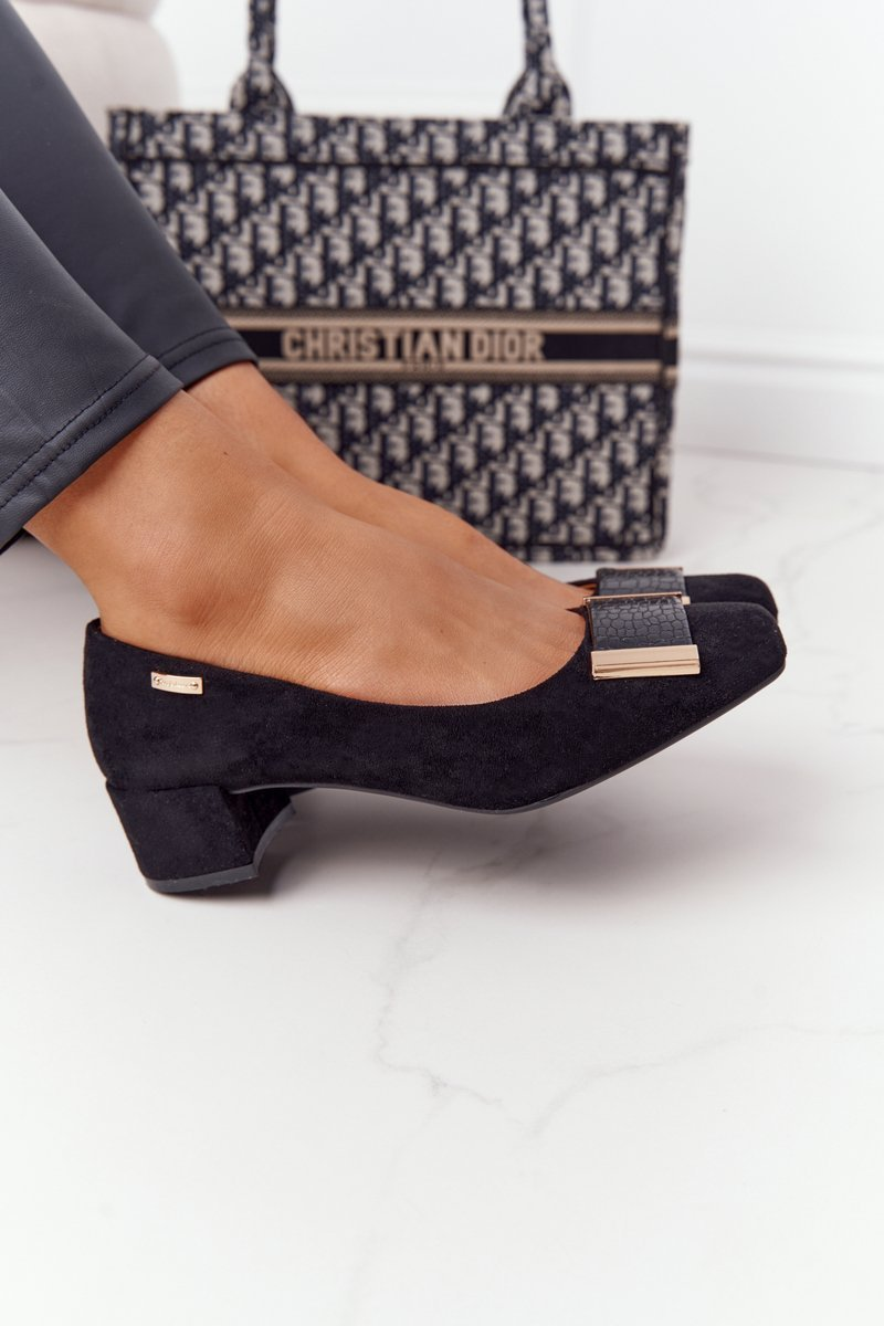 Suede Pumps On A Block Heel Sergio Leone PB142 Black