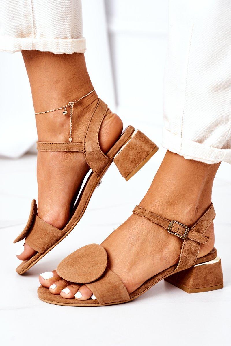 Suede Sandals On A Block Heel Maciejka 5198A-29 Camel