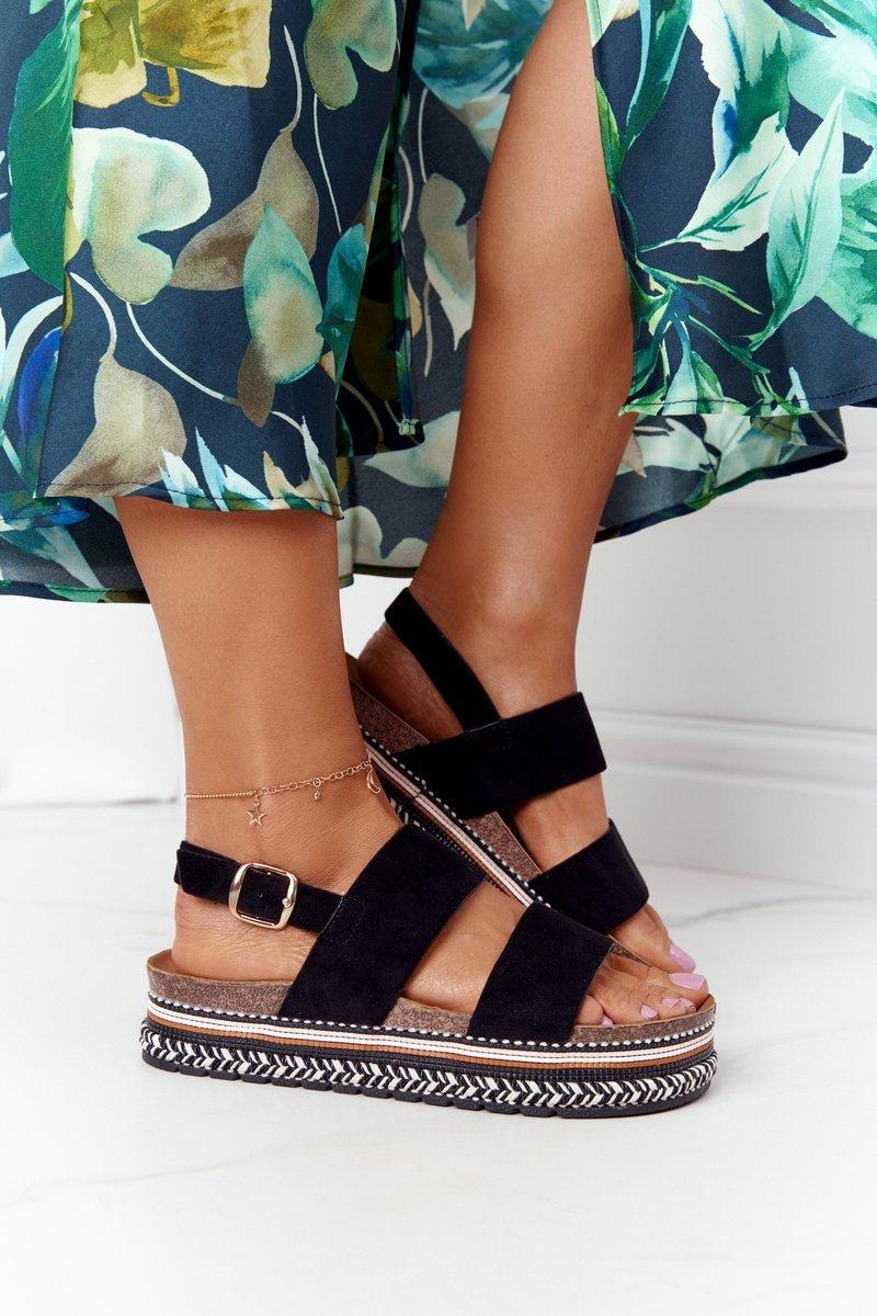 Suede Sandals On A Platform Black Olimpia