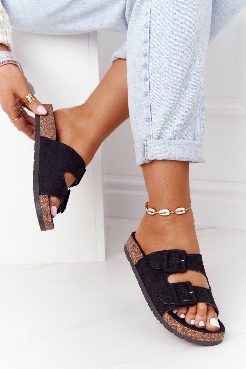 Suede Slippers On The Cork Sole Black Jennifer