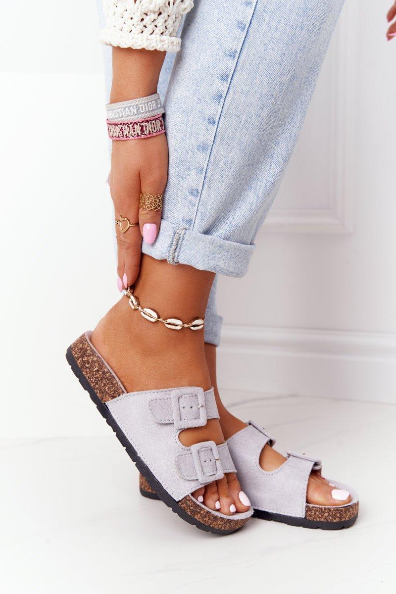 Suede Slippers On The Cork Sole Grey Jennifer