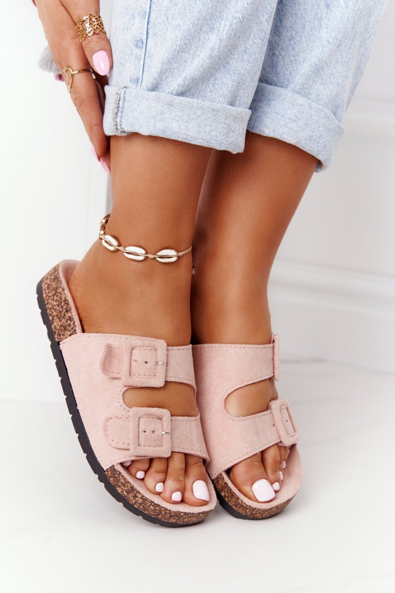 Suede Slippers On The Cork Sole Light Pink Jennifer