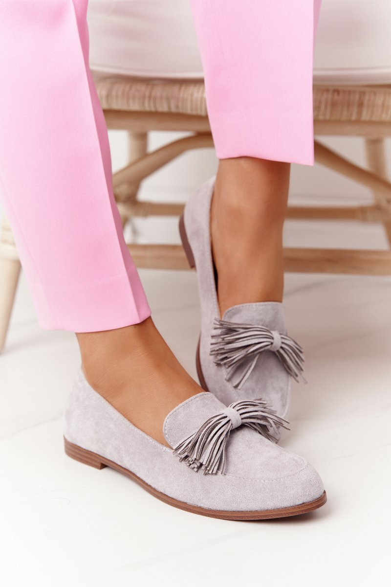 Suede Women's Loafers With Fringes Grey Alicante