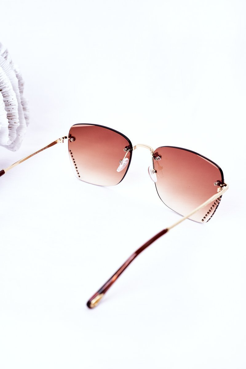 Sunglasses With Cubic Zirconia Brown Ombre