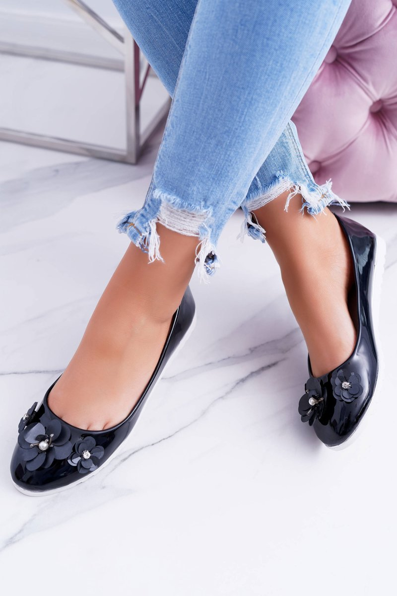 Vices | Lacquered Black Women's Ballerinas With Flower Neli