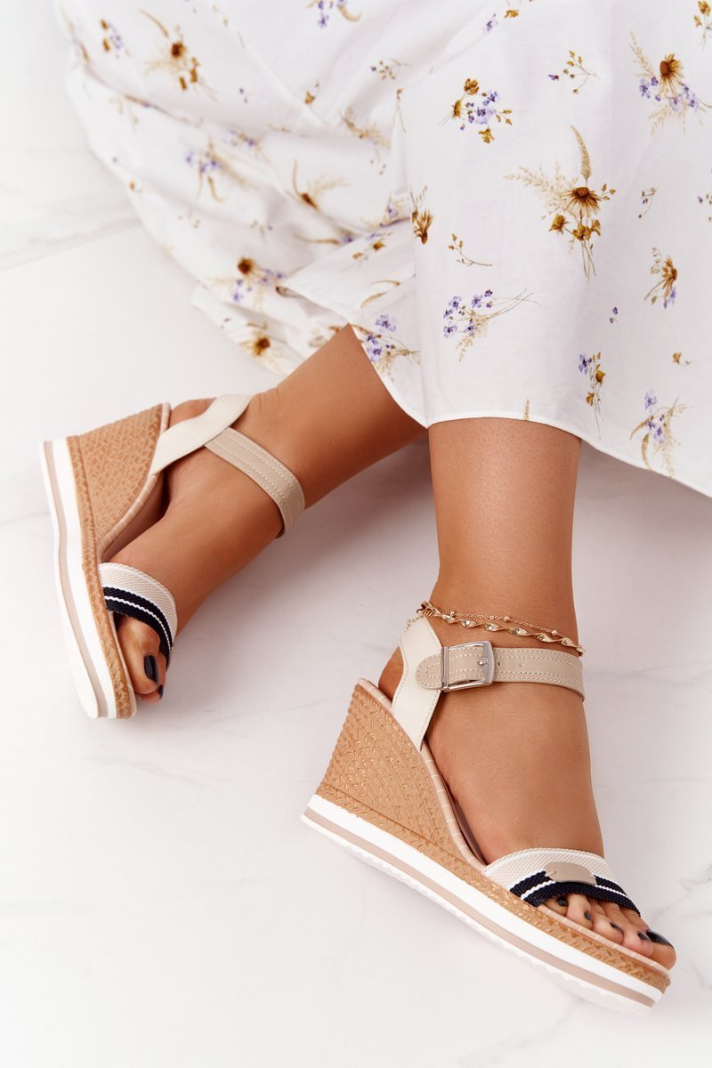 Wedge Sandals In Sailor Style Navy Beige Tropical