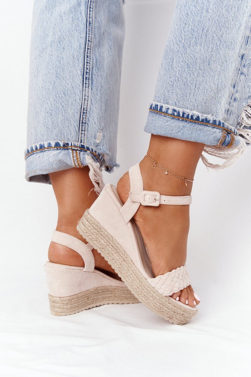 Wedge Sandals With Braids Beige Baleary