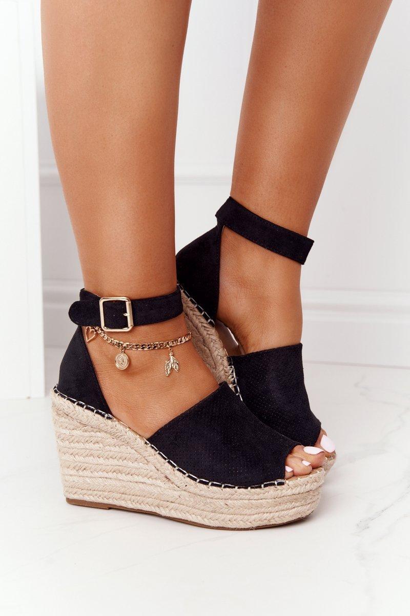Wedge Sandals With Braids Black Makenna