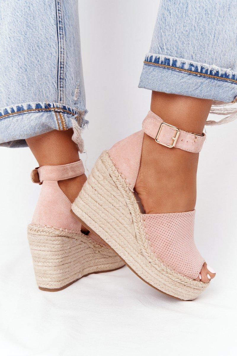 Wedge Sandals With Braids Light Pink Makenna