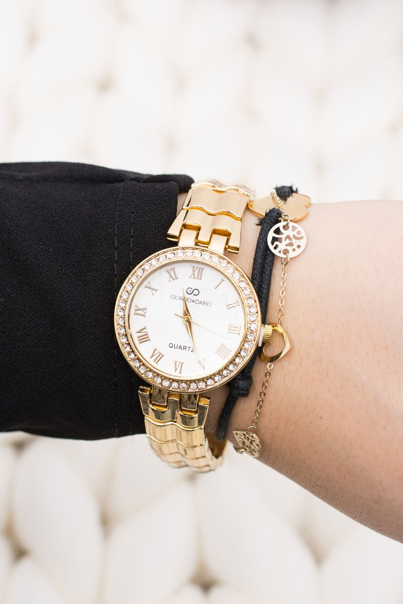 Women Gold Watch with Bracelet Crystals