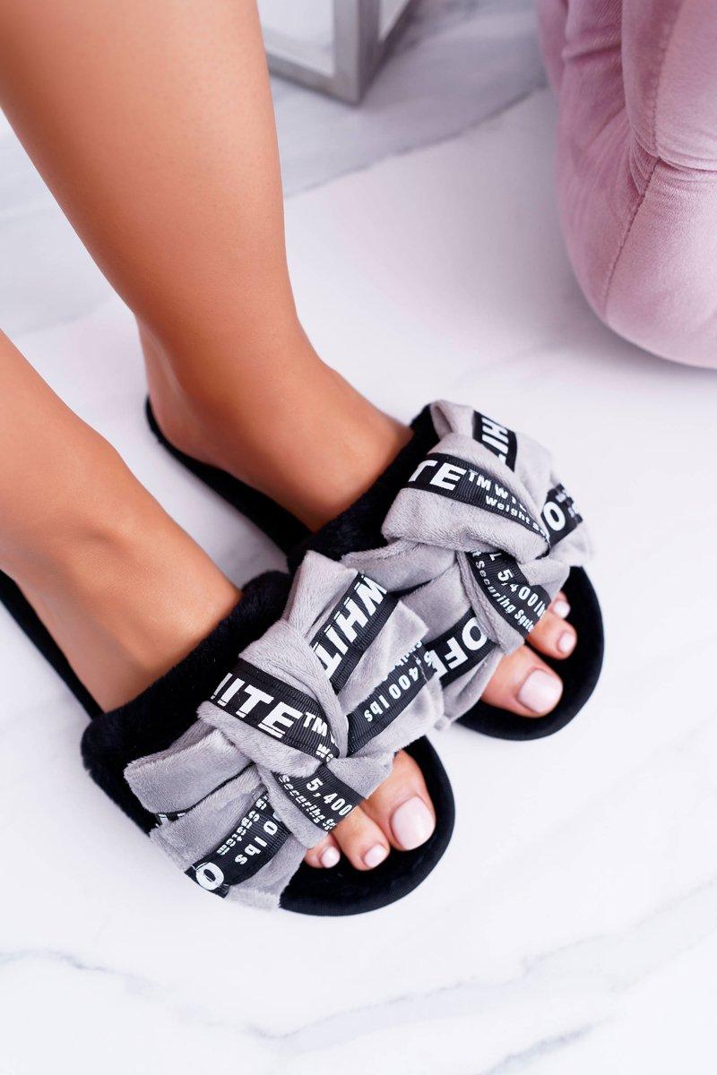 Women Grey Flip-flops With Words Lu Boo News