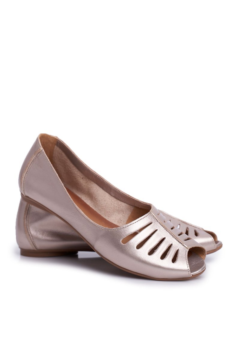 Women's Ballerinas Maciejka Leather Gold 03497-25