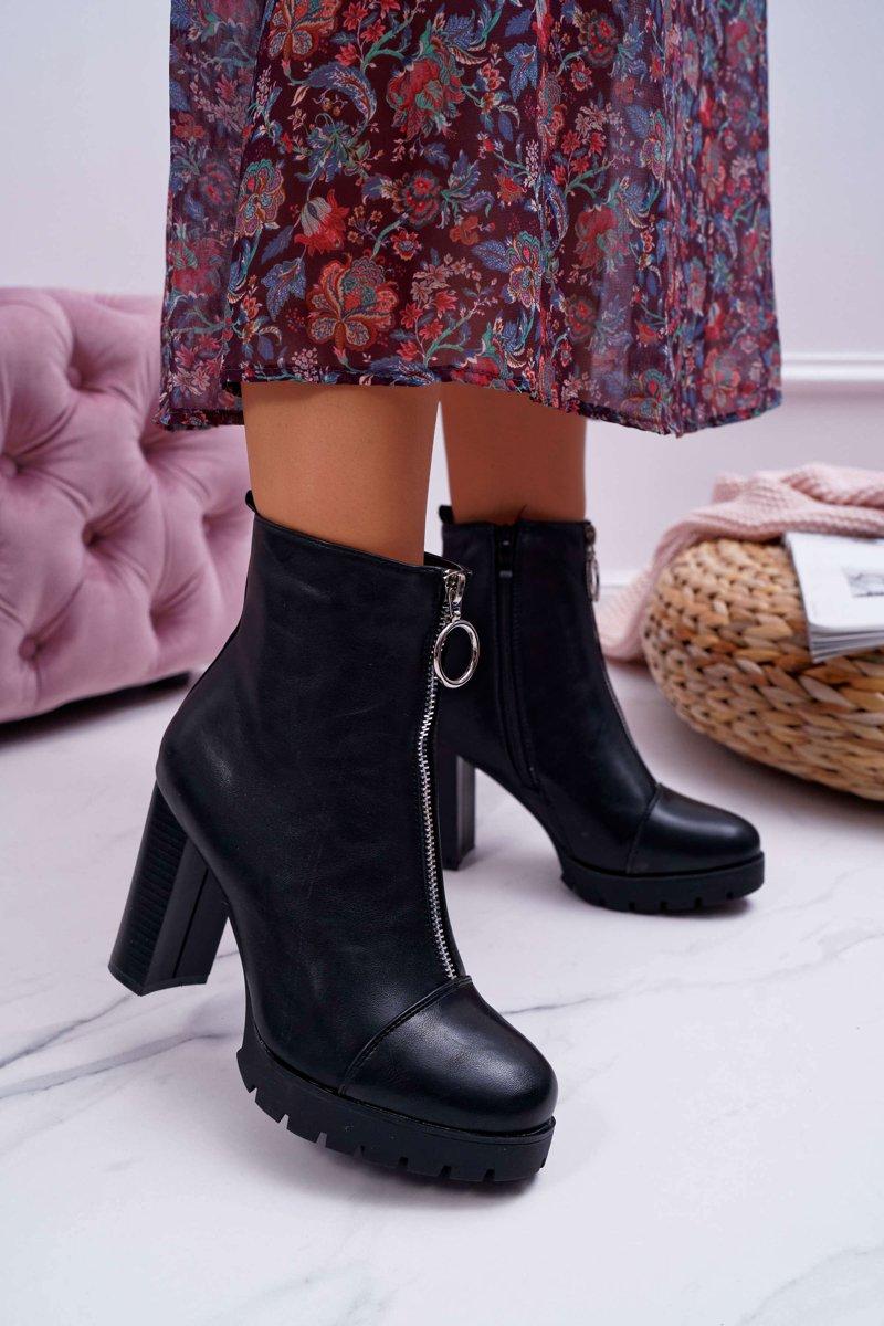 Women's Boots On High Heel With Decorative Zipper Black Senuto