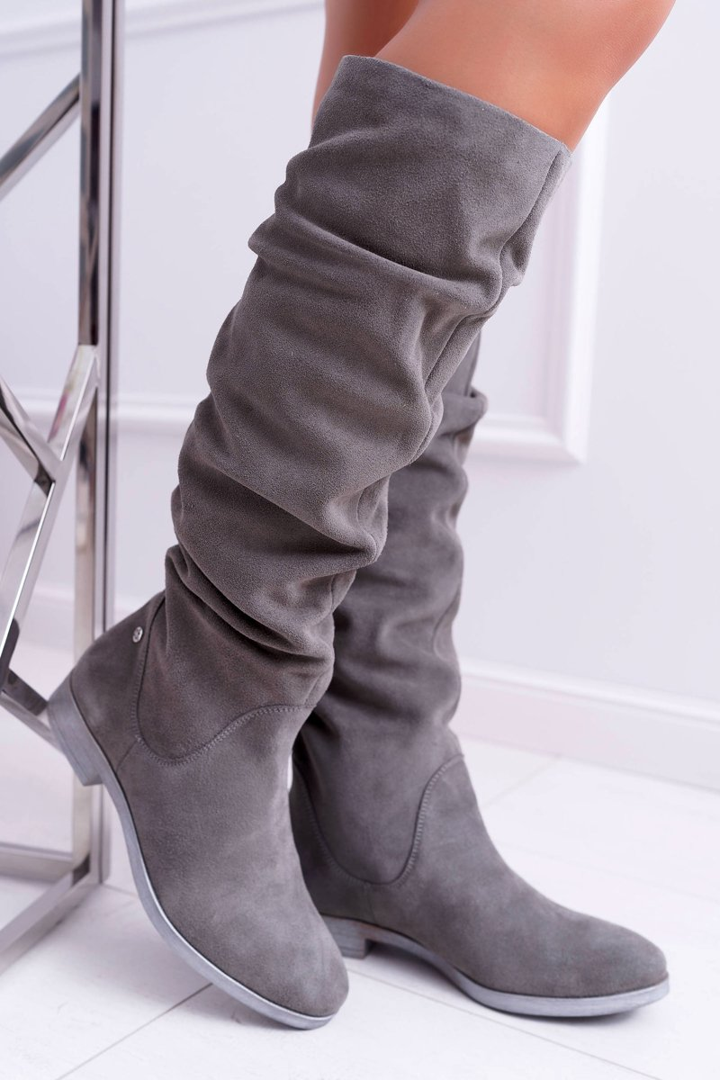 Women's High Boots Flat Leather Suede Grey Pello