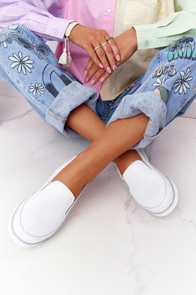Women's Leather Slip-On Sneakers S.Barski White