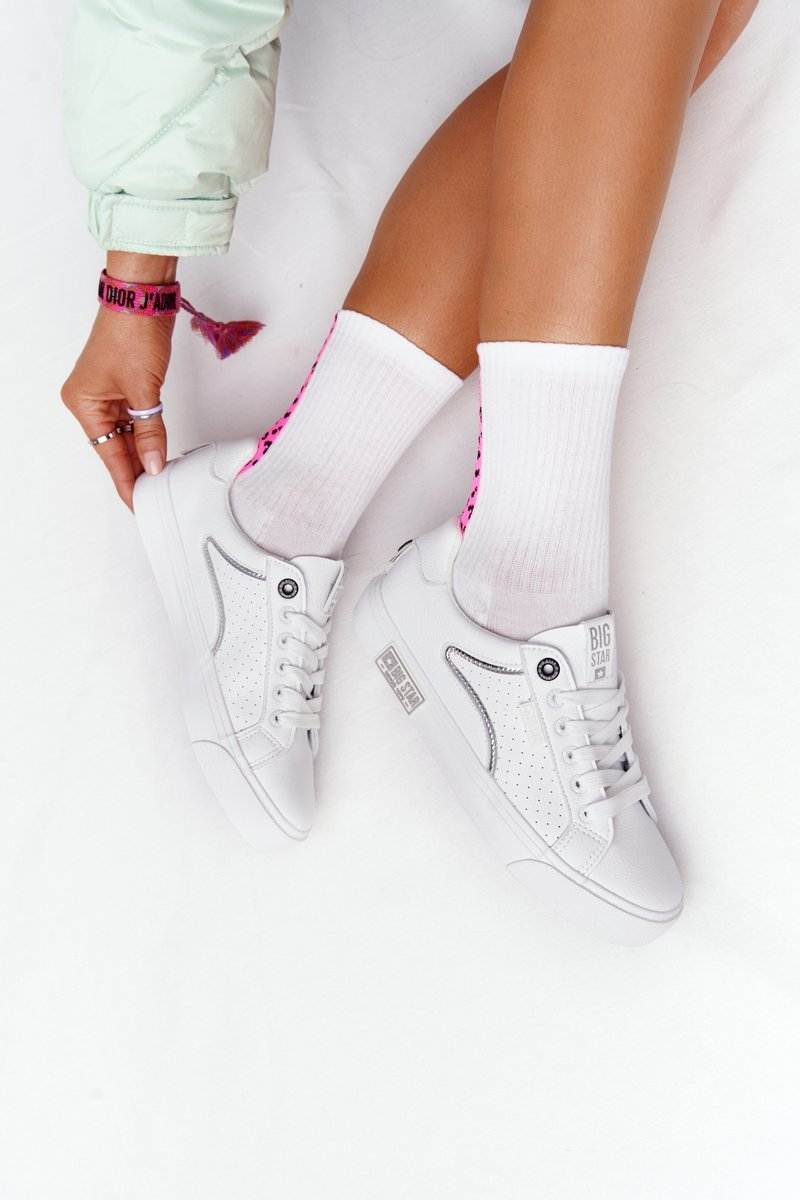 Women's Leather Sneakers BIG STAR HH274075 White-Silver