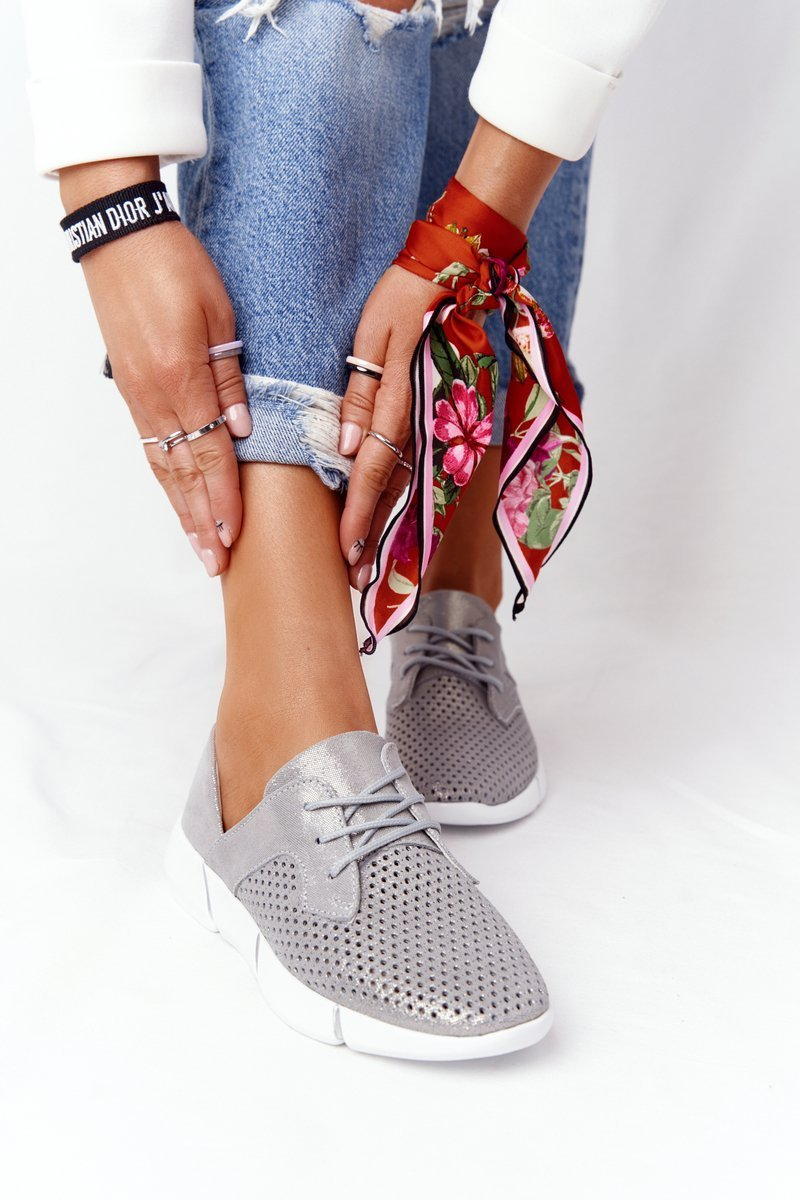 Women's Leather Sport Shoes Grey Day Trip