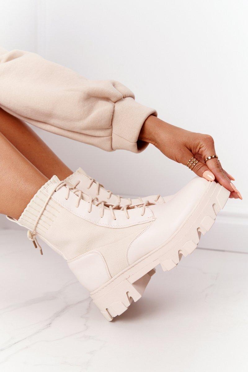Women's Platform Boots Beige Megan