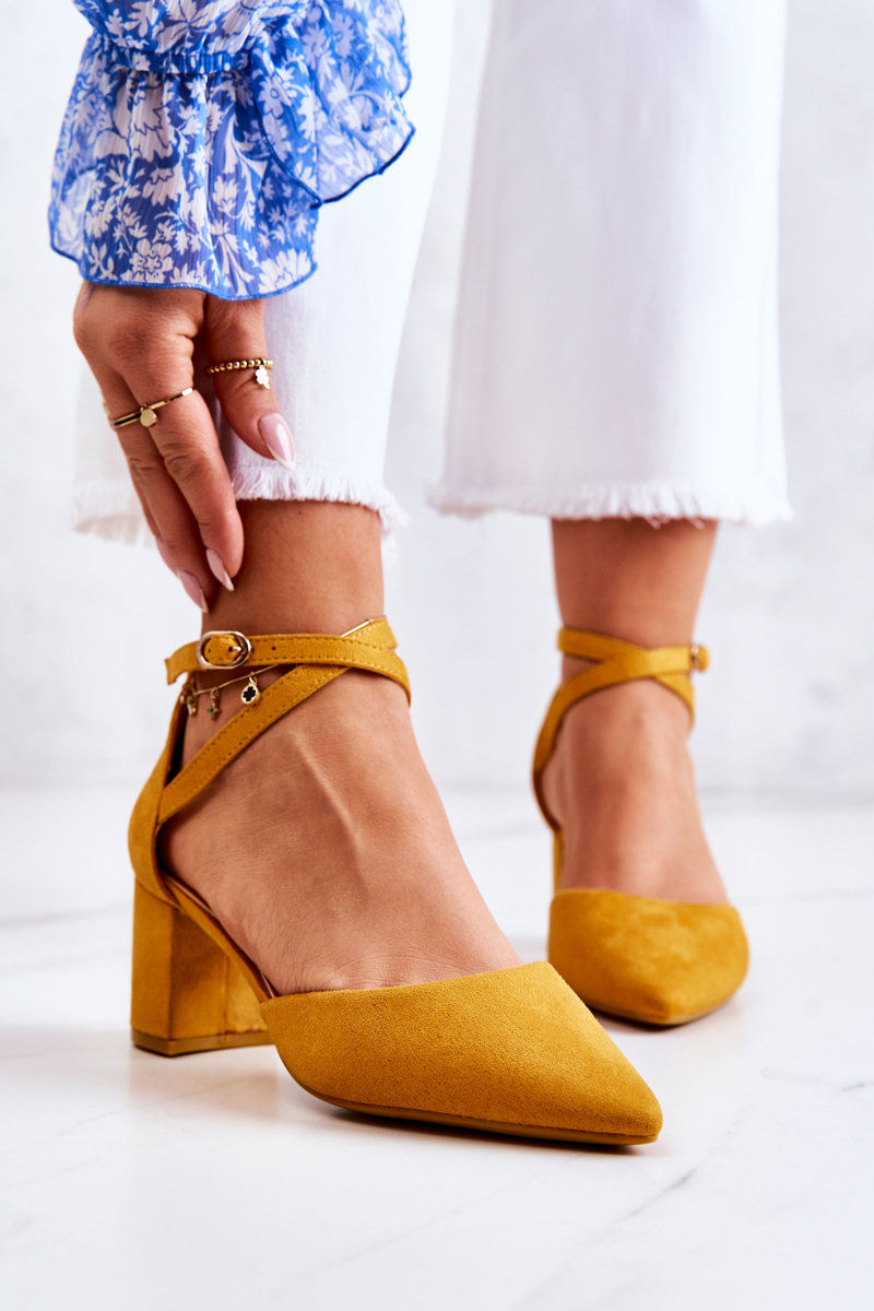 Heel Suede Yellow Cosmo   Cheap