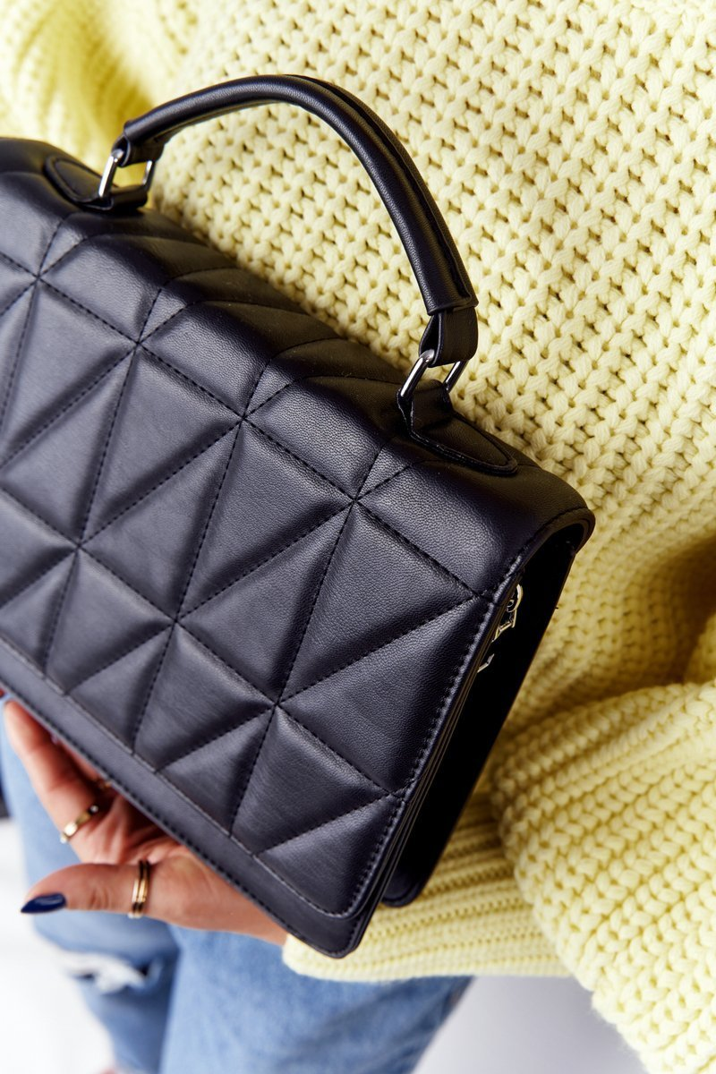 Women's Quilted Messenger Bag Monaco Black