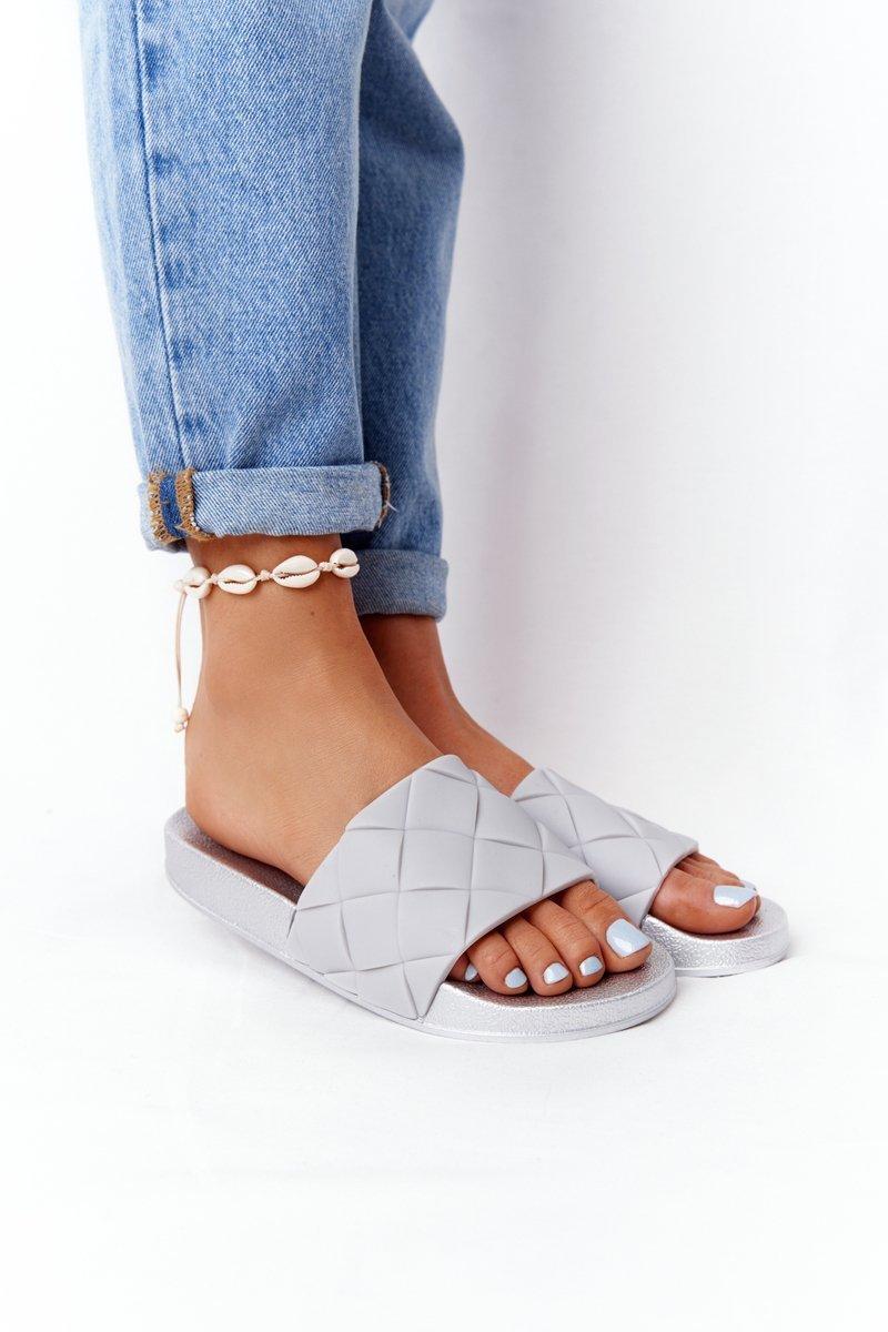 Women's Rubber Slippers Grey-Silver Let's Swim
