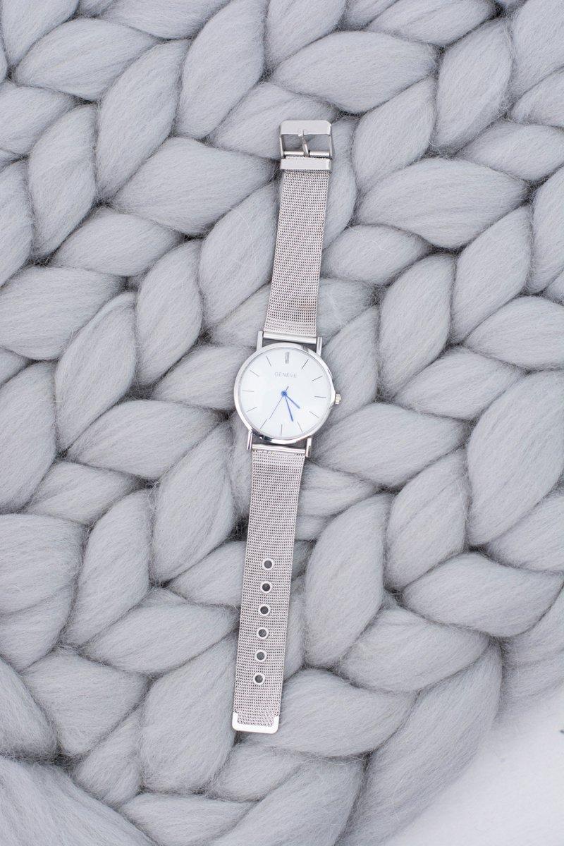 Women's Silver Stylish Watch with Bracelet