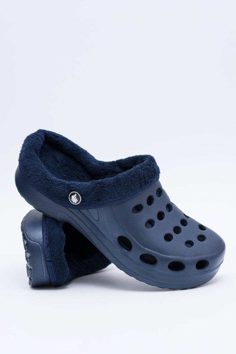 Women's Slides Warm Navy Blue Crocs Eva