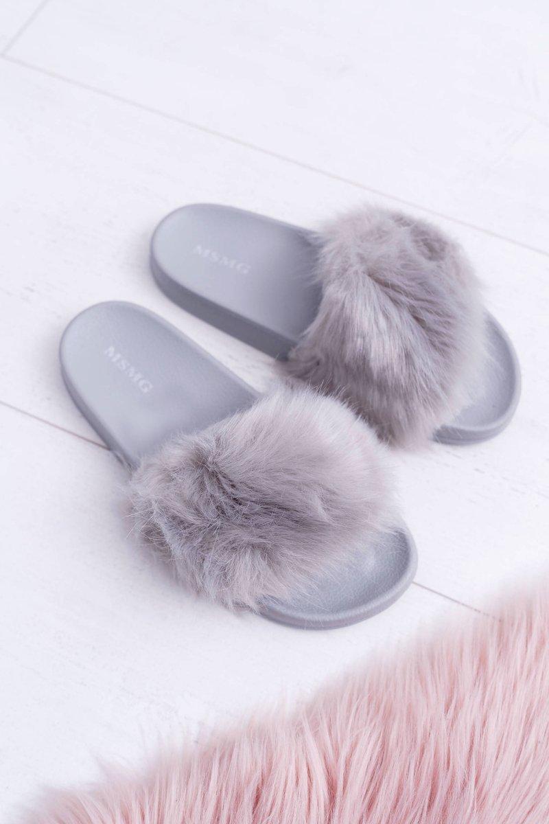 Women's Slides With Fur Grey Fur