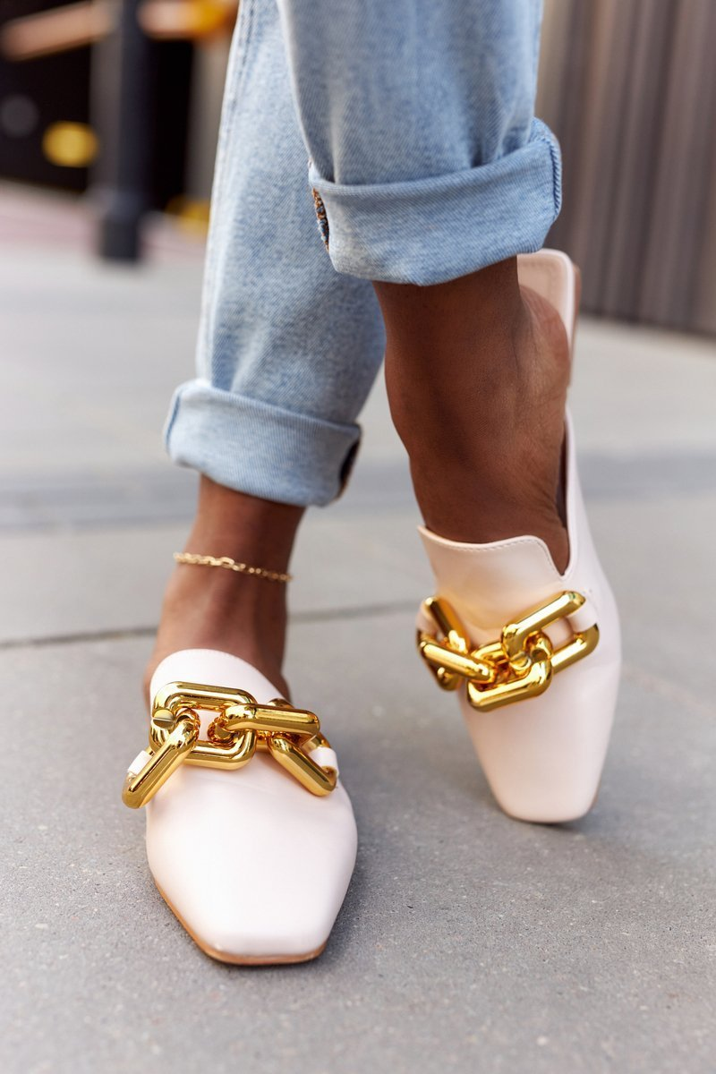Women's Slippers With Chain Beige Call On Me