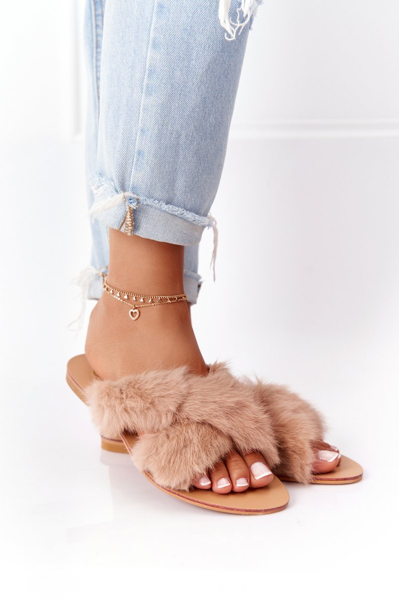 Women's Slippers With Eco Fur Lu Boo Beige