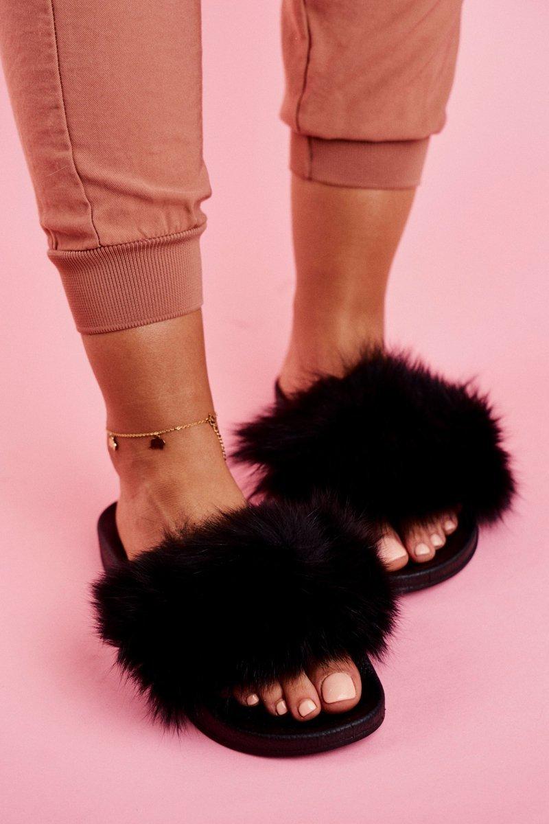 Women's Slippers With Fur Black Belmondo