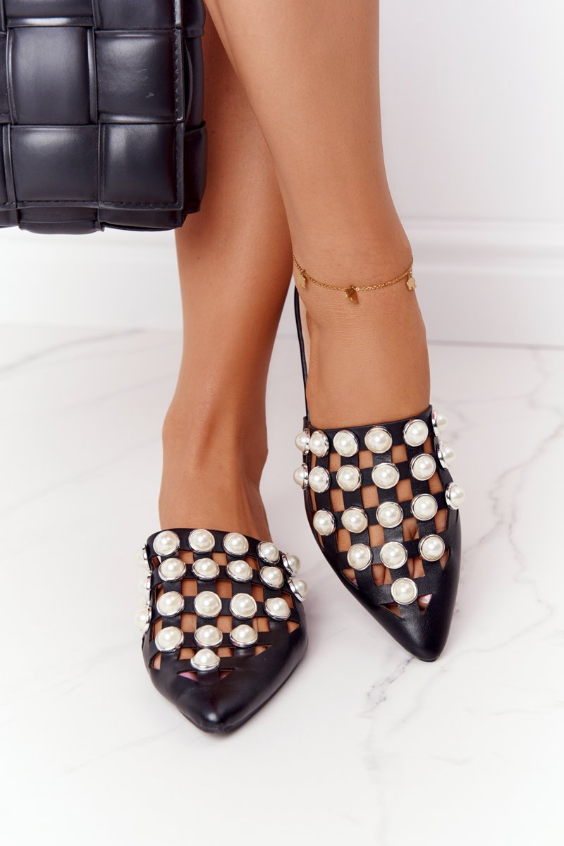 Women's Slippers With Pearls Black Ripple