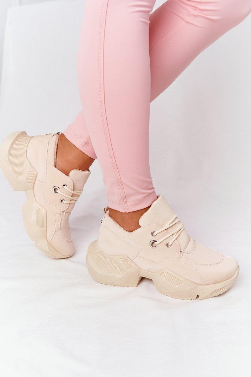 Women's Sneakers On A Chunky Sole Beige Bubbly