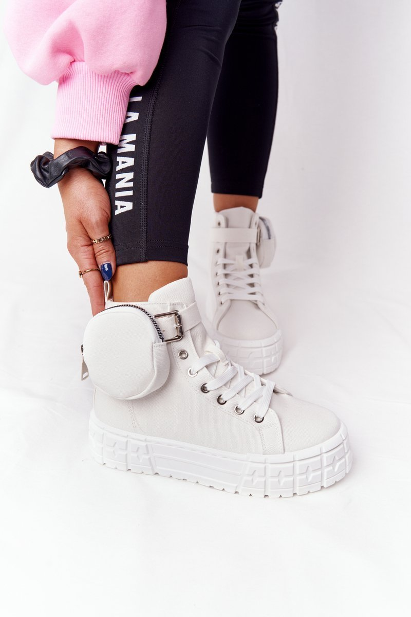 Women's Sneakers On A Platform With A Purse White Popcorn