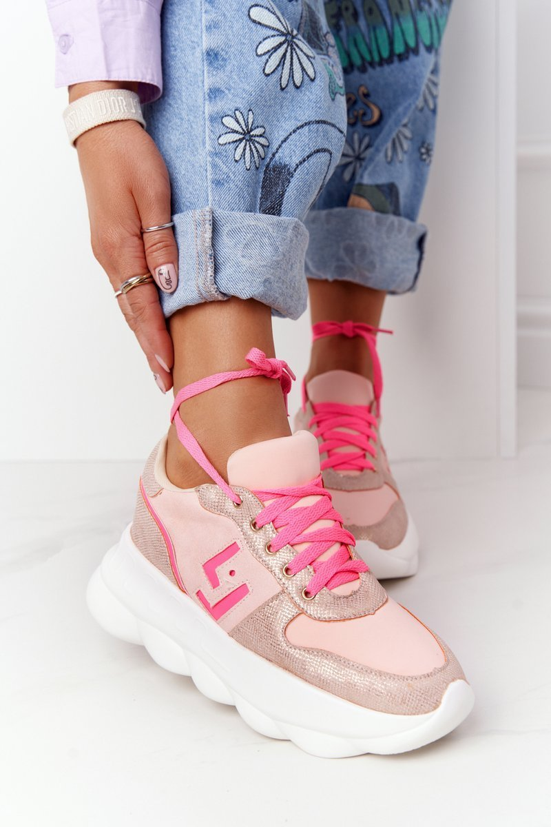 Women's Sports Shoes On The Platform Lu Boo Pink