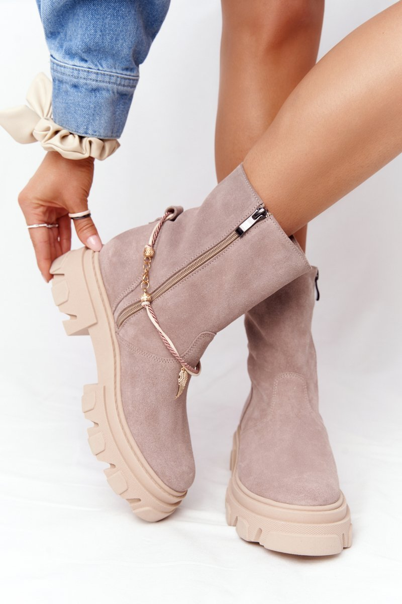 Women's Suede Boots Lewski Shoes 3006-0 Beige