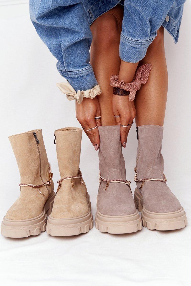 Women's Suede Boots Lewski Shoes 3006-0 Sand