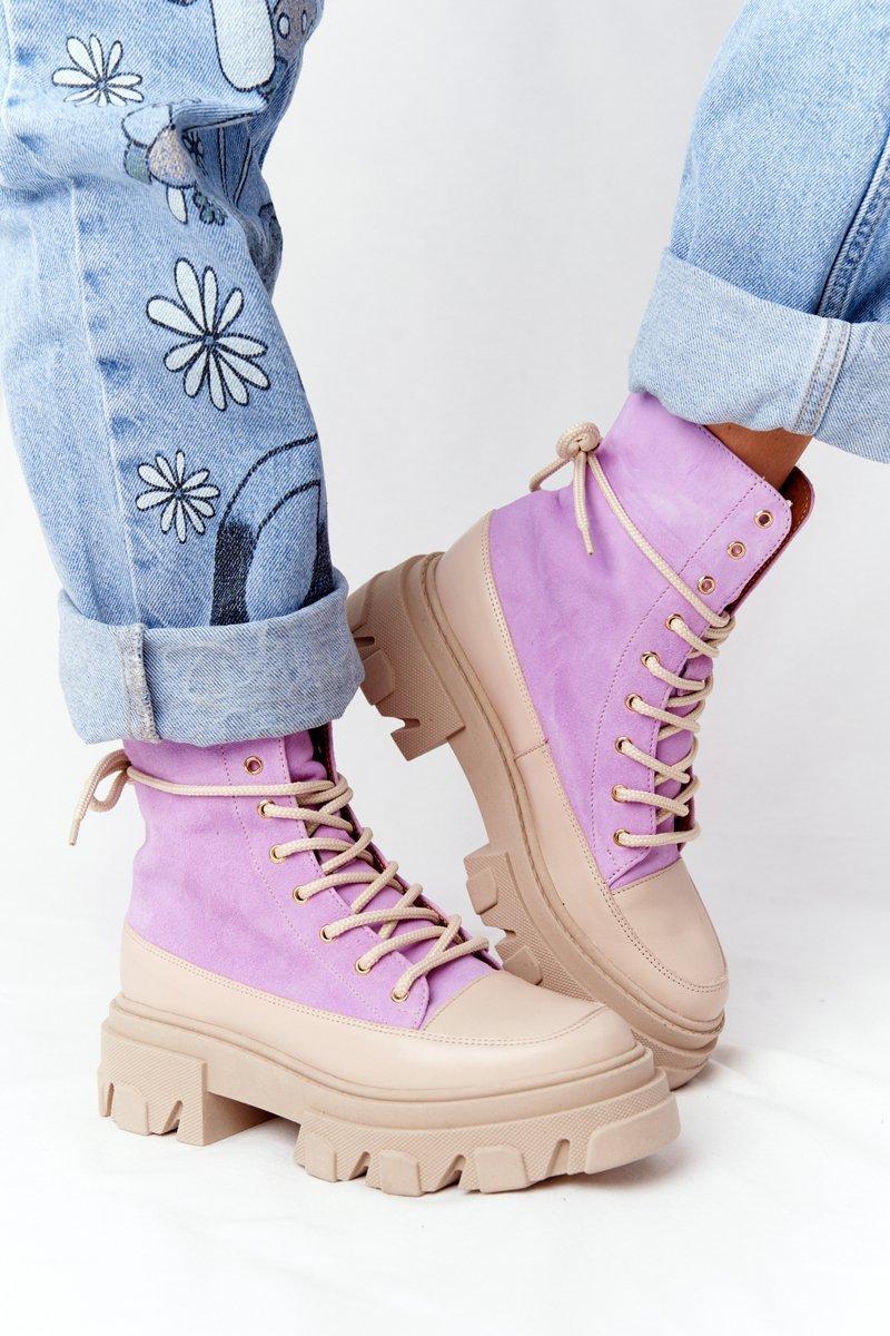 Women's Suede Boots Lewski Shoes 3007-0 Violet