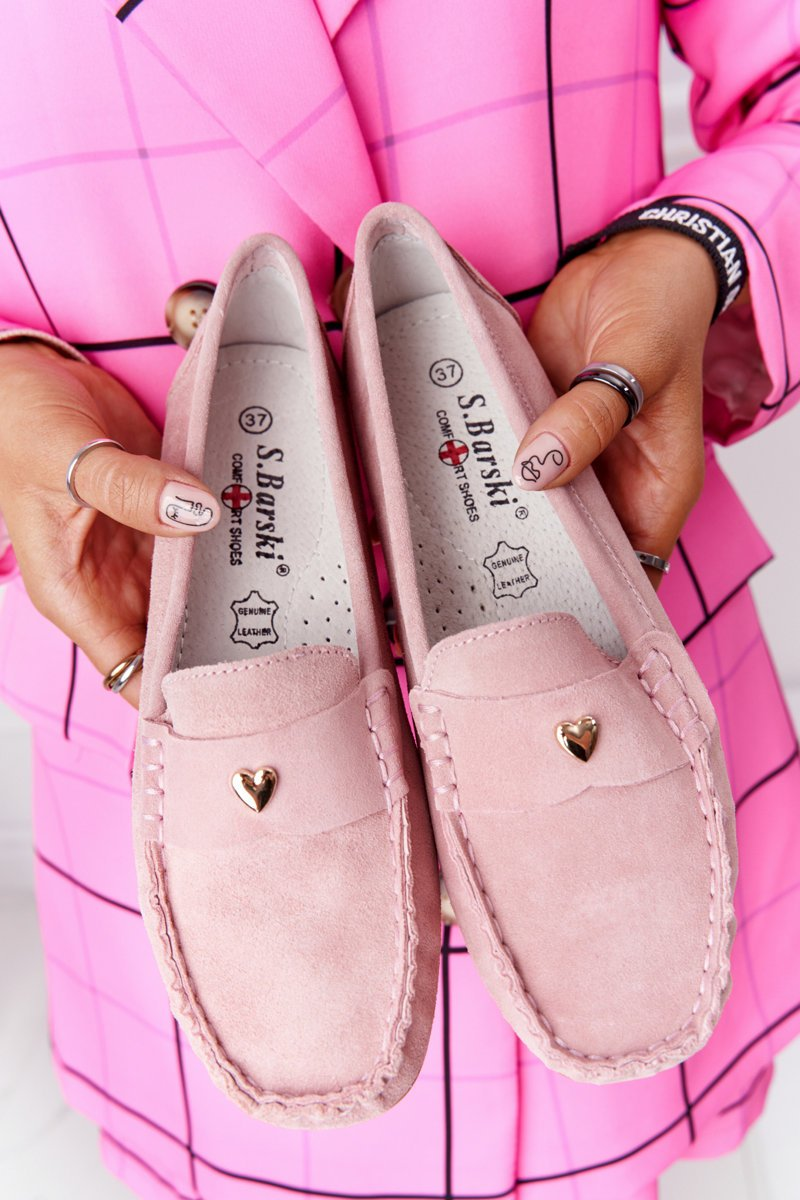 Women's Suede Loafers S.Barski Pink