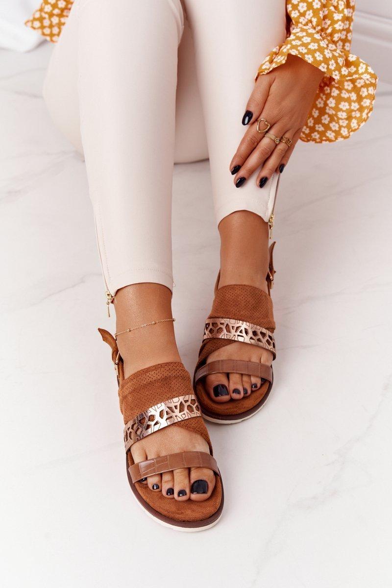 Women's Suede Sandals Camel Asturia