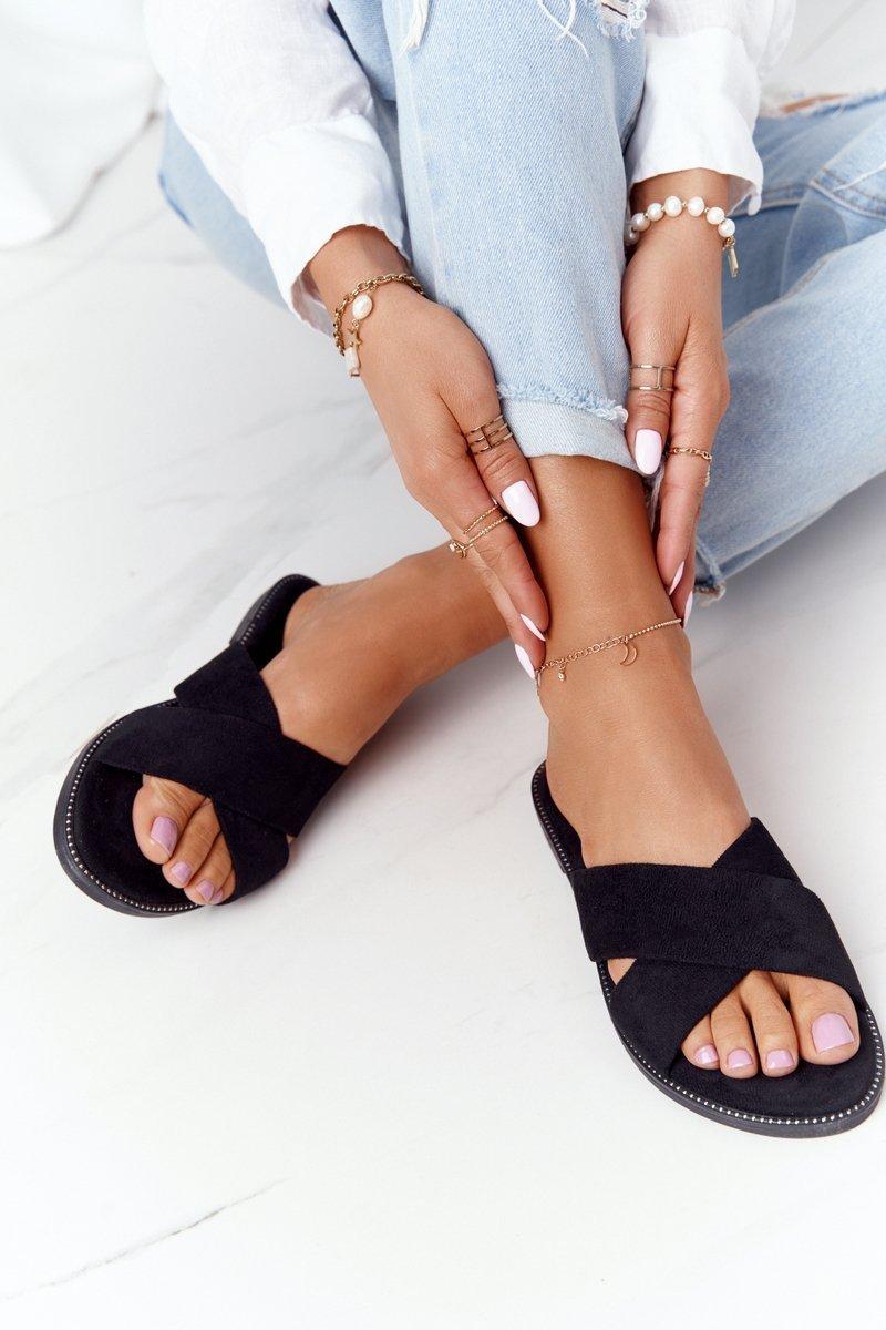 Women's Suede Slippers Black Edesa
