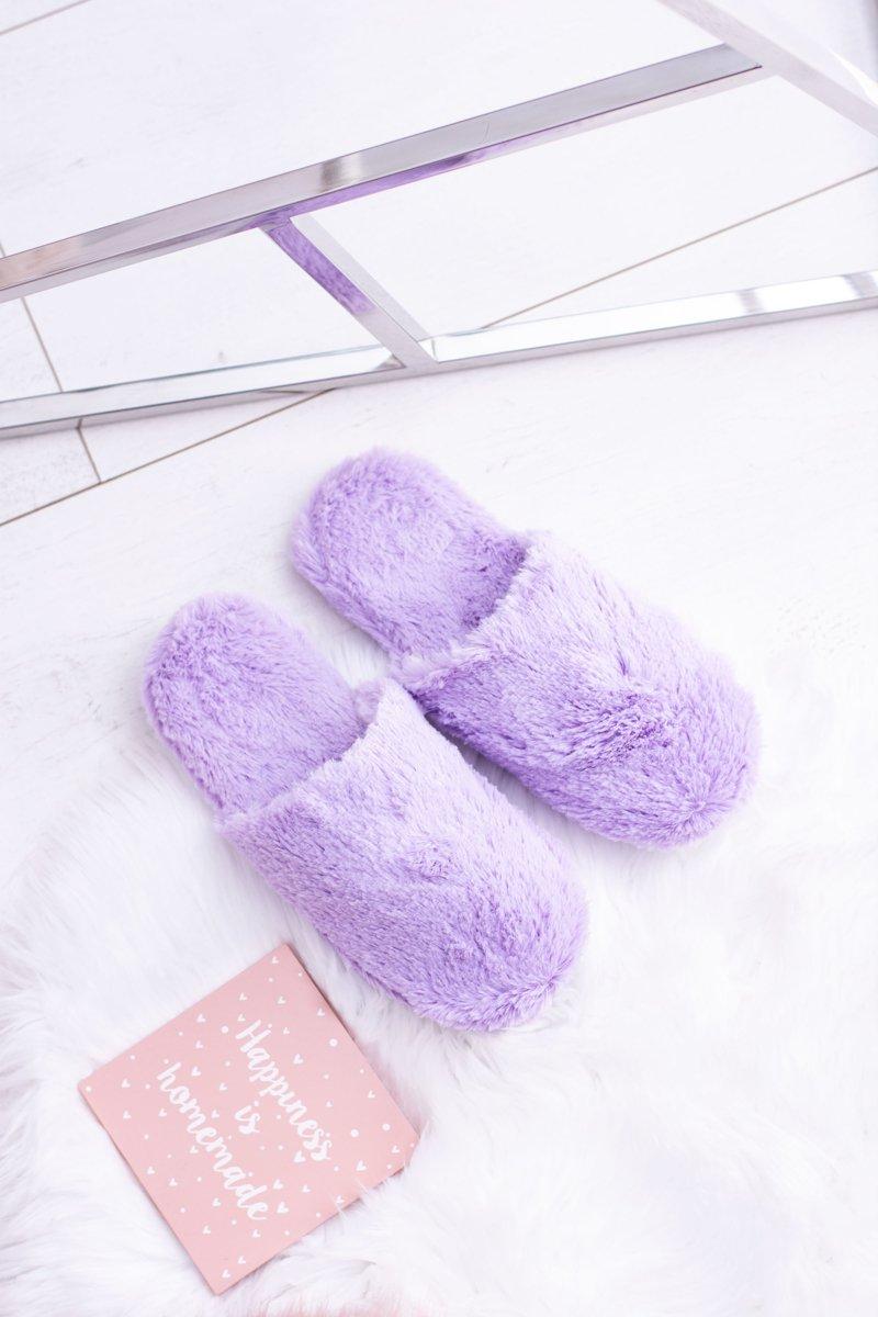 Women's fur slippers purple Mimia