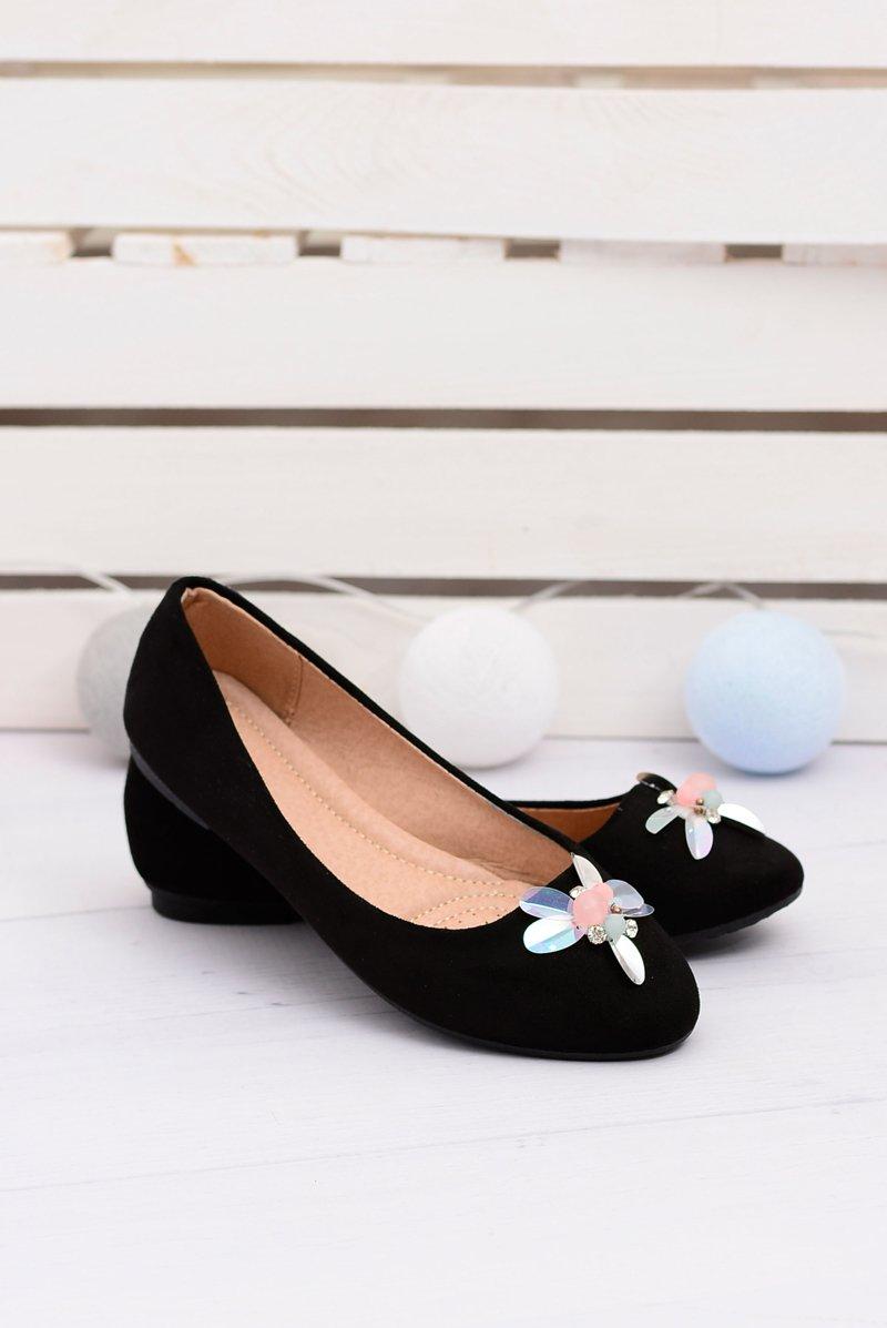 Zamszowe Czarne Damskie Balerinki Blume
