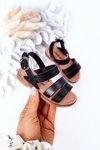 Children's Shiny Sandals Black Natalie