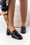 Elegant Shoes On A Block Heel S.Barski Premium A17 Black