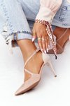 Elegant Suede Pointed High Heels Visconi 7400 Pink