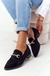 Elegant Women's Loafers S.Barski Suede Black