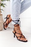 Lace-up High Heel Sandals With Square Toe Black Runway