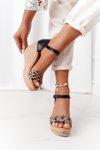 Leather Wedge Sandals Maciejka L4869-01 Black