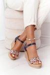 Leather Wedge Sandals Maciejka L4869-17 Navy Blue